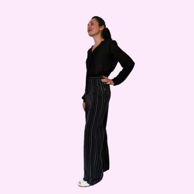 Womens Trousers Black Stripe Side View