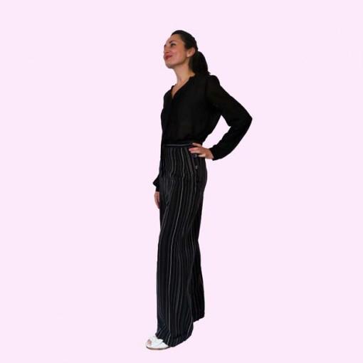 Womens Trousers Black Stripe Side View
