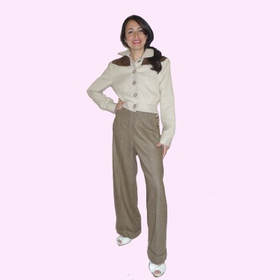 Womens Trousers Brown Herringbone Front