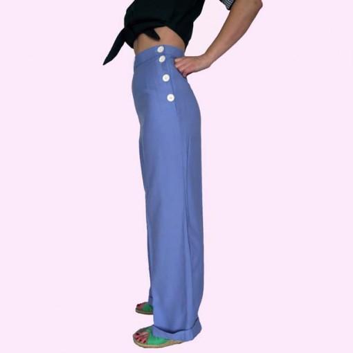 Womens Trousers Cornflower Blue Side