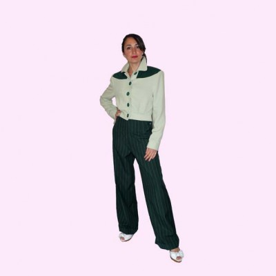 Womens Trousers Dark Green Stripe