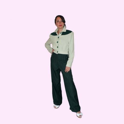 Womens Trousers Dark Green Stripe