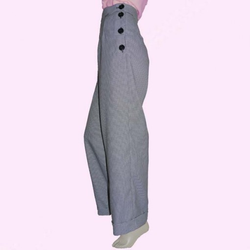 Womens Trousers Dogtooth Side