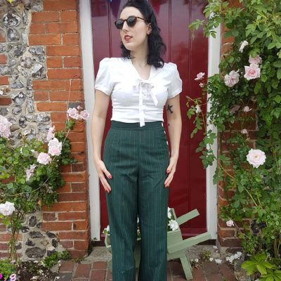 Womens Trousers Green Stripe