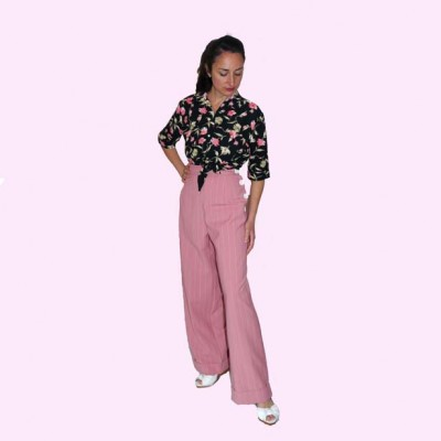 Womens Trousers Pink Stripe