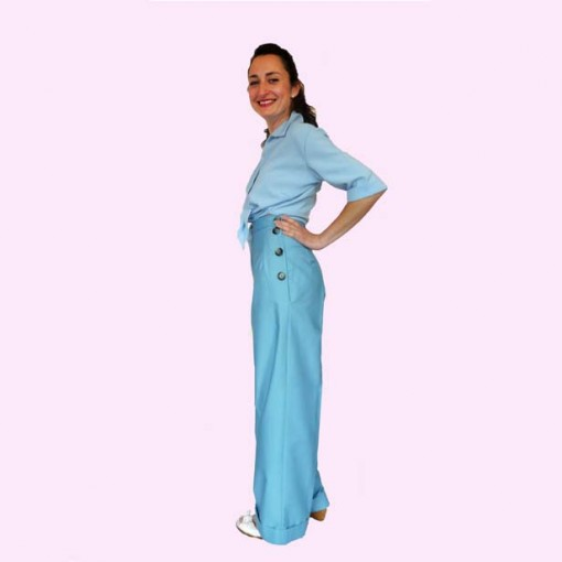 Womens Trousers Turquoise side
