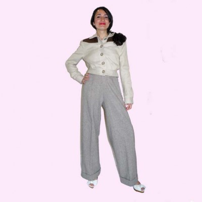 Womens Trousers Tweed Front View