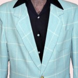 Box Jacket Pale Blue Check Close up