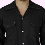 Gab Shirt Black with Stitching close