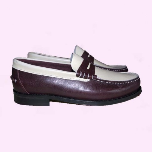 Loafers Burgundy & Cream side view