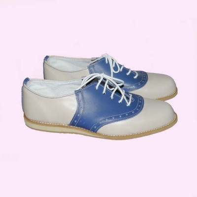 Saddle Shoes Cream with Mid Blue Saddle