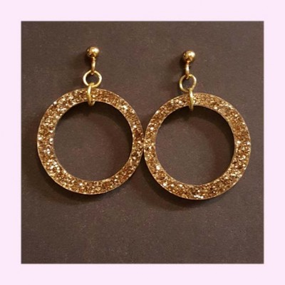 Small Drop Hoop Earrings Gold