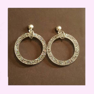 Small Drop Hoop Earrings Silver