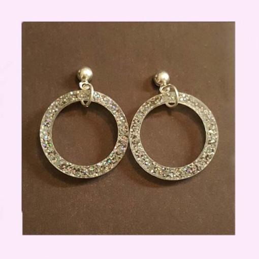 Small Drop Hoop Earrings Silver