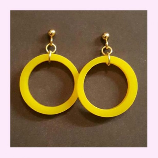 Small Drop Hoop Earrings Yellow