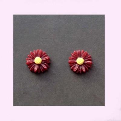 Tiny Burgundy Daisy Earrings