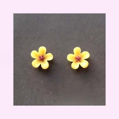 Tiny Yellow Flower Stud Earrings