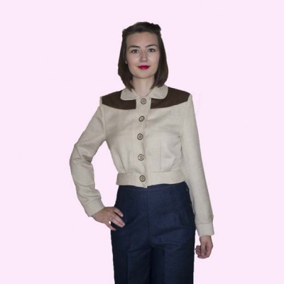 Womens Buttoned Jacket Cream and Dogtooth