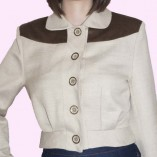 Womens Buttoned Jacket Cream and Velvet Dogtooth close up