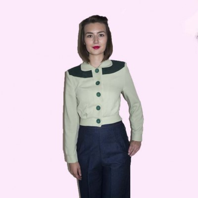 Womens Buttoned Jacket Pastachio & Green front