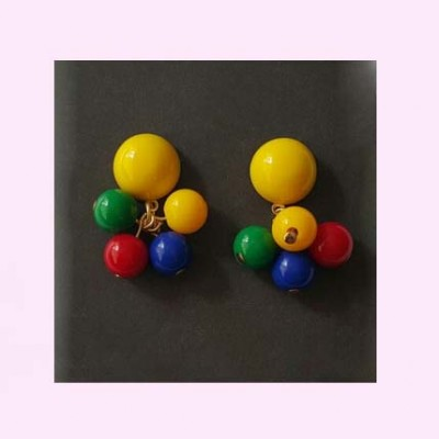 Yellow Stud Multi Bead Earrings