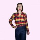 Gab Jacket Navy Red & Yellow Check