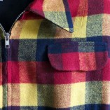 Gab Jacket Navy Red & Yellow Check Close up