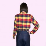 Gab Jacket Navy Red & Yellow Check back