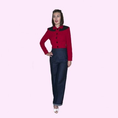 Womens Buttoned Gab Red & Black