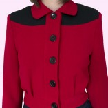 Womens Buttoned Gab Red & Black close up