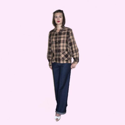 Womens Pendleton Brown and Beige Check