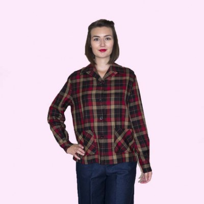 Womens Pendleton Brown and Red Check