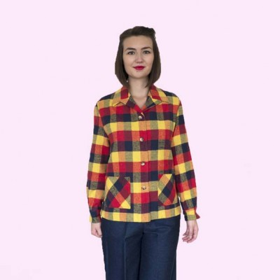 Womens Pendleton Navy Red & Yellow Check