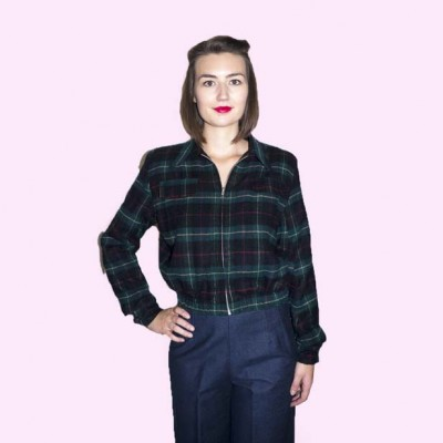 Gab Jacket Dark Green & Navy Check