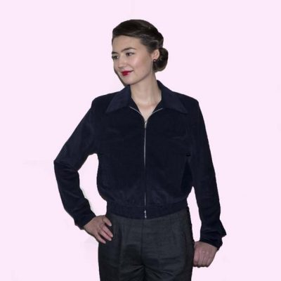 Gab Jacket Navy Cord on Molly