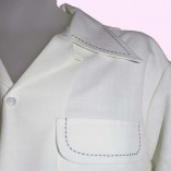 Gab Shirt Cream Slub with Stitching close up