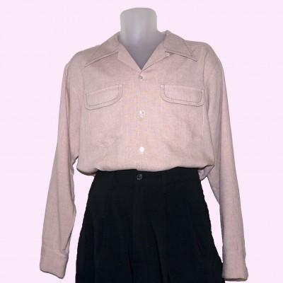 Gab Shirt Pink Fleck with stitching