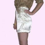 Cream Satin Shorts side