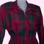 Ski Jacket Red & Dark Green Check close up