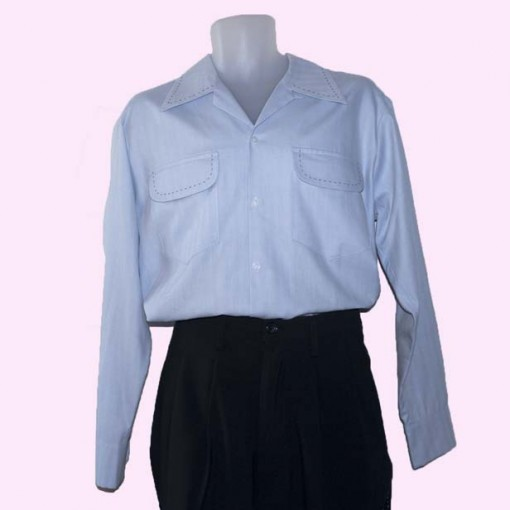 Gab Shirt Ice Blue with Stitching full view