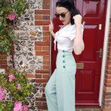 Womens Trousers Mint Stripe