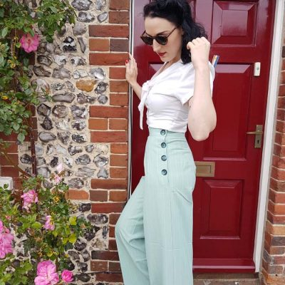 Womens Trousers Mint Stripe