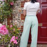Womens Trousers Mint Stripe back