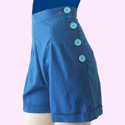 Aqua Stripe shorts side