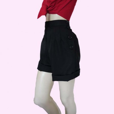 Black shorts side with black buttons