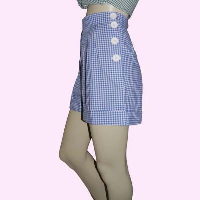 Blue Gingham Shorts side