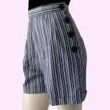 Grey Stripe Shorts Side