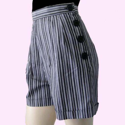Grey Stripe Shorts Side