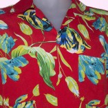 Short Sleeve Shirt Red & Blue Floral close up