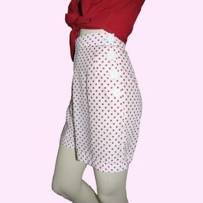 White with Red Spots Shorts Side